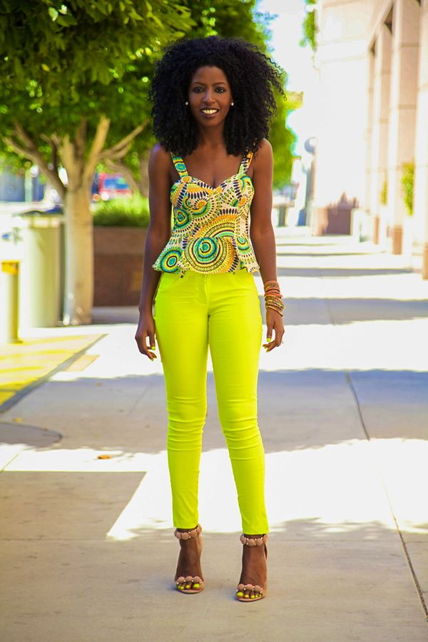 style pantry instagram | Style Pantry | Peplum Bustier + Neon Jeans