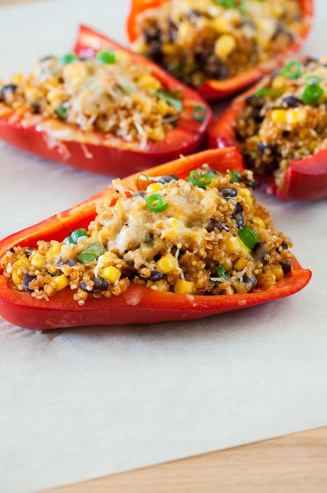 These vegetarian-friendly Southwestern stuffed peppers are filled with quinoa, corn, green onions and black beans. Just toss ingredients together, load onto a pepper and bake.