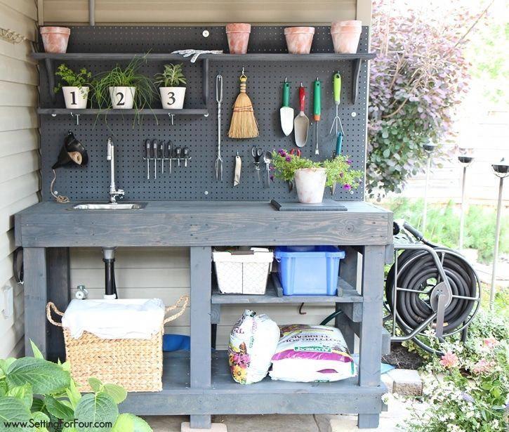 Achtung Gärtner! Wie man eine wunderschöne DIY-Topfbank aus KOSTENLOSEM Palettenholz herstellt! Hat alle Glocken und Trillerpfeifen: ein Wasserhahn, Waschbecken, fließendes Wasser, Mo …