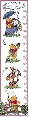 """Counted Cross Stitch kit - growth height chart for baby or kid """"Winnie the Pooh"""" 3"""