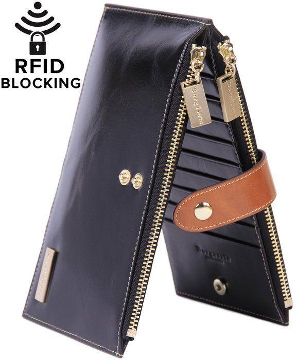 Borgasets RFID Blocking Women's Genuine Leather Zipper Wallet Card Case Purse (Pink)