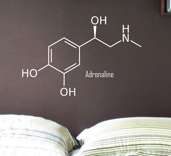 Epinephrine Adrenaline Molecule - Vinyl Wall Decal - Painted Appearance. $22