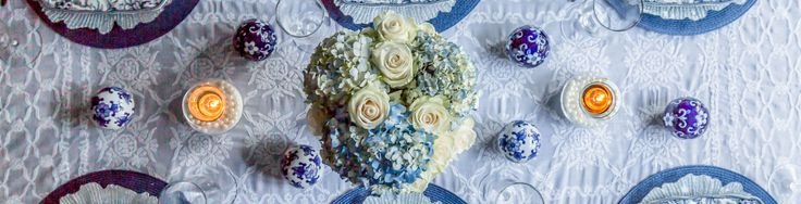 If you're looking for Easter dinner or spring table ideas, this blue and white table setting has a hydrangea centerpiece that is perfect for the occasion