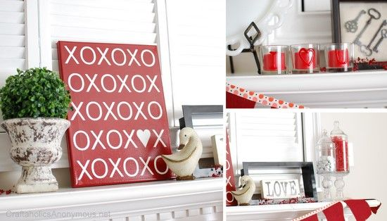 XOXO canvas!: Valentine Mantels, Valentine Day, Mantles Idea, Valentine Mantles, Valentine Decorations, Valentines Day, Valentine'S S, Fun Valentine, Mantels Idea