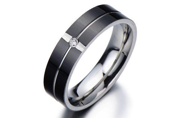 Man Wedding Band Ring/Men's Wedding Ring/Promise Ring for Him/Promise Rings for Men/Black Mens Ring/Anniversary Gift for Boyfriend
