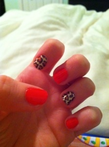 Fun Red & Cheetah Nail Design!