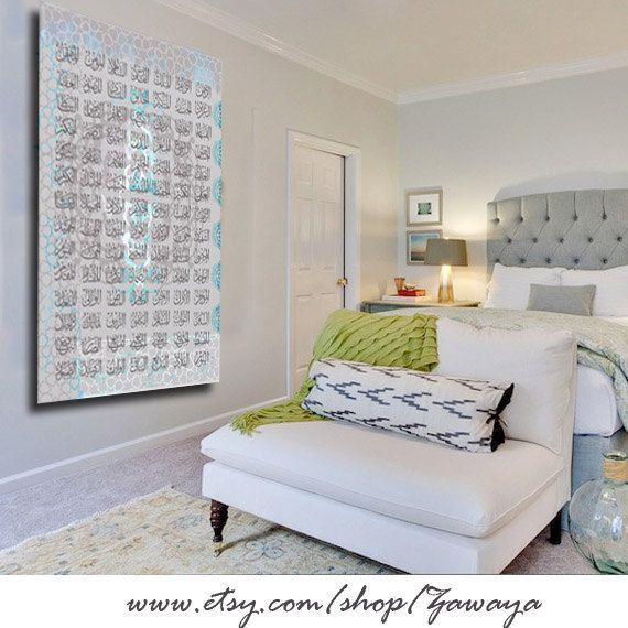 Canvas wall art gray blue shades decor arabic by Zawaya on Etsy, $105.00