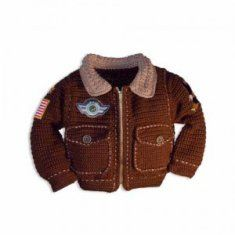 Cute Baby Bomber Jacket from Maggie's Crochet. Now if I knew someone who just had a baby boy . . .
