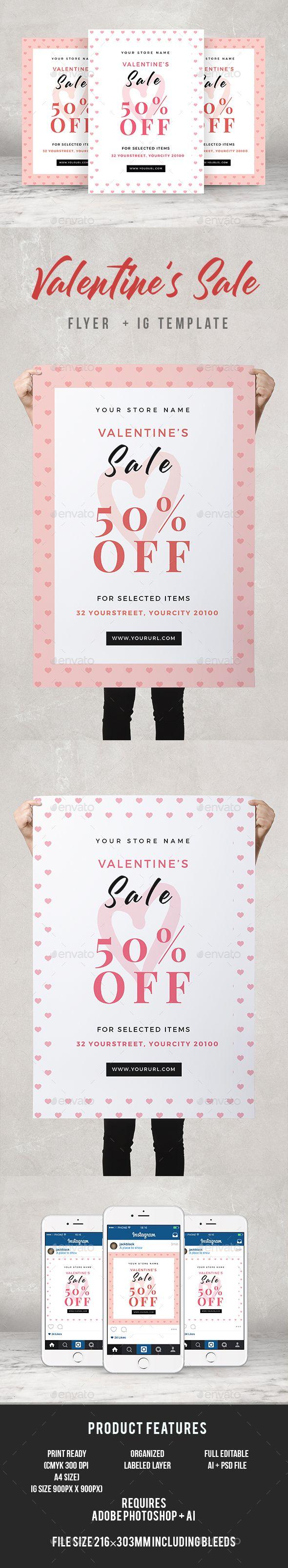 Valentines Sale Flyer #store #red • Download ➝ https://graphicriver.net/item/valentines-sale-flyer/21339734?ref=pxcr