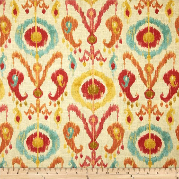 Richloom Holiday Blend Fiesta from @fabricdotcom  Screen printed on a linen/rayon blend; this versatile medium weight fabric is perfect for window accents (draperies, valances, curtains and swags), accent pillows, upholstery and other home decor accents. Colors include ochre, turquoise, red, yellow, orange, pink and cream with metallic gold accents throughout the design.