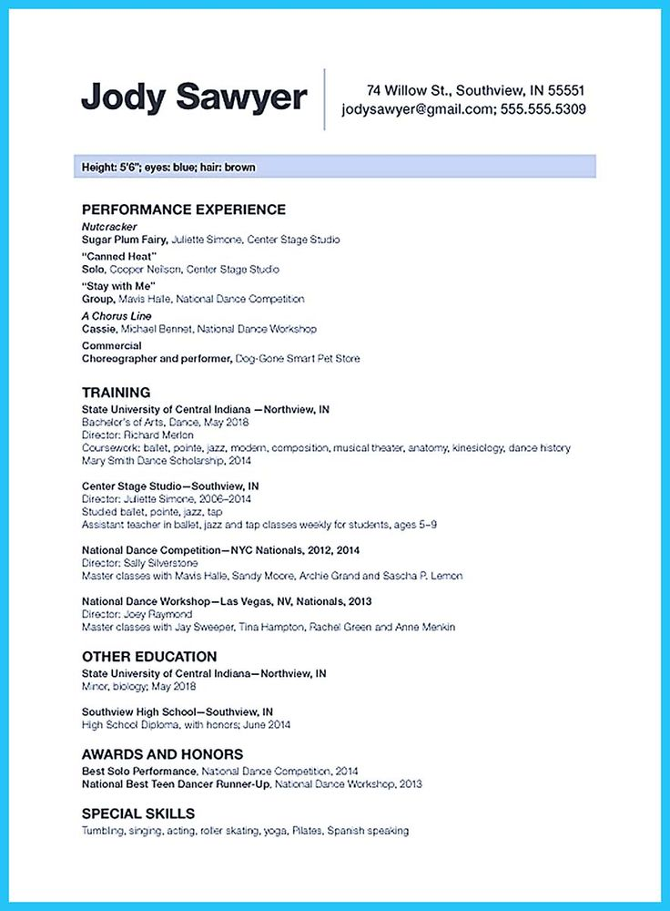 nice The Best and Impressive Dance Resume Examples Collections,