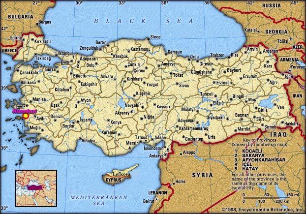 Tyrkiet Geografiske Kort Over Tyrkiet Dansk Encyklopaedi Mapa