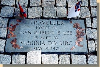 Grave of Traveller - Robert E. Lee's white horse - at Washington Lee University, Lexington, VA.  Traveller outlived his owner.