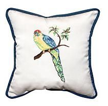 "17"" Outdoor Toss Pillow - Sunbrella Canvas Fabric with Parrot Embroidery"