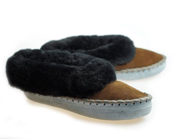 Mens SHEEPSKIN SLIPPERS Moccasin Leather Boots Moccasins for