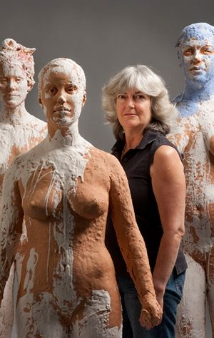 Kathy Venter's life-size, figurative ceramic sculptures