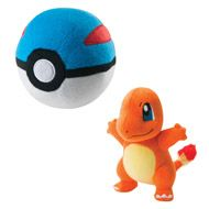 """GAMESTOP ON UNIVERSITY   Reward yourself with a set from the Kanto Region!  First partner Pokémon Charmander 8'' plush comes with its dedicated Plush Great Ball. This 5"""" plush Great Ball is engineered so that it will land upright no matter how you throw it. Perfect gift pack for Pokémon lovers!"""