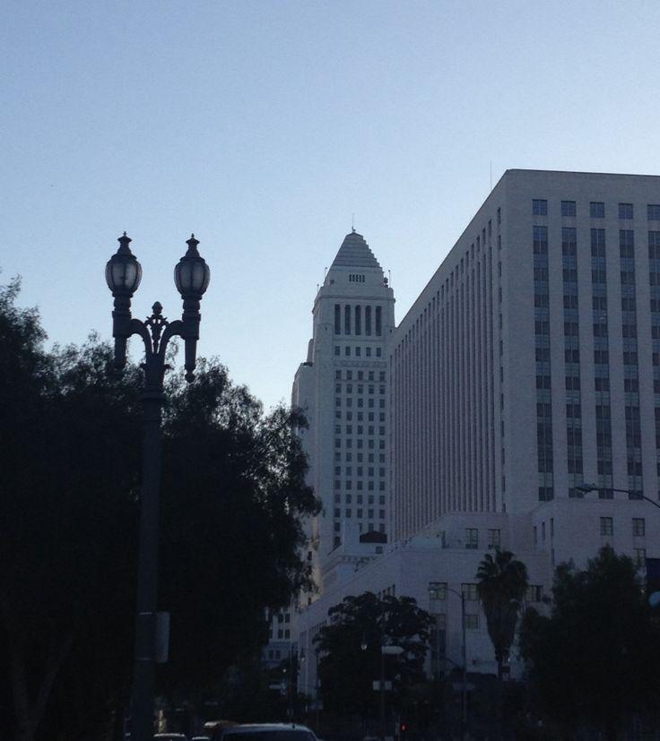 View of Los Angeles city hall building from la placita olvera.
