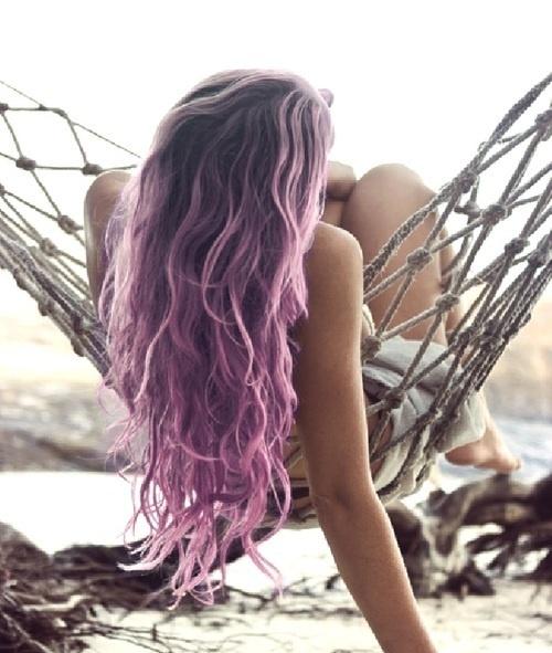 Cheveux mi rose mi violet Plus