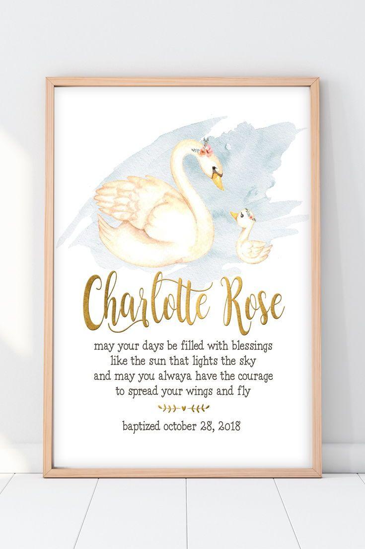 baptism gift for girl   swan blessing print   baby girl nursery