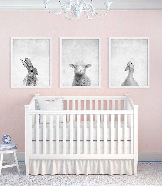 Set van drie Baby dieren Prints kwekerij Art afdrukken zwart-wit kunst Bunny Print lam eend kinderen kamer Decor kwekerij Decor Baby Gift Ideas