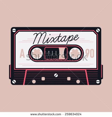 Cool detailed vector mixtape illustration with retro analogue compact audio cassette tape isolated | Magnetic tape compact format record - stock vector
