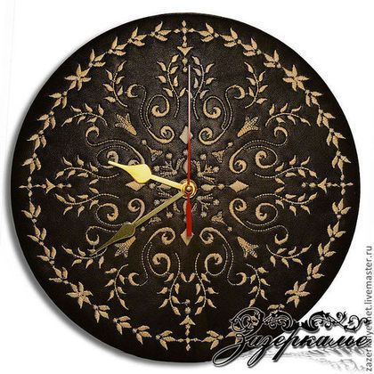 """Часы для дома ручной работы. Ярмарка Мастеров - ручная работа. Купить Кожаные часы с вышивкой """"Baroque"""". Handmade. Часы интерьерные"""