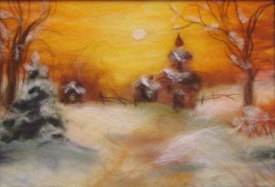 Wool paintings make charming wall decorations and unique handmade gifts. Painting with wool fiber is one of fun craft ideas for adults and kids that celebrate the beauty of this natural material. You need just few wool rovings or yarn skeins in different colors for creating beautiful winter landscap