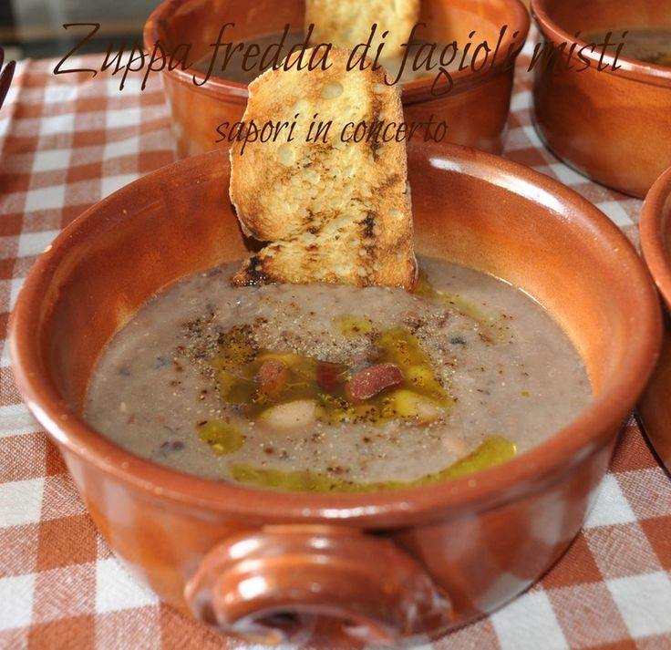 Zuppa fredda di fagioli misti
