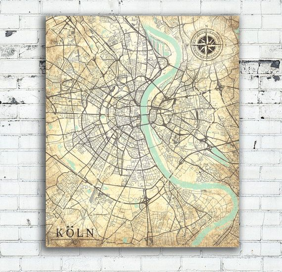 cologne canvas print germany vintage map cologne k ln city. Black Bedroom Furniture Sets. Home Design Ideas