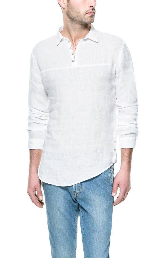 LINEN SHIRT WITH SIDE BUTTONS - Casual - Shirts - Man | ZARA India