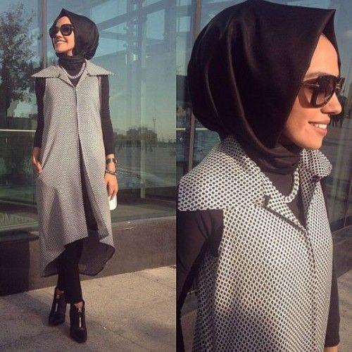 gray vest hijab style, Hulya Aslan hijab fashion looks http://www.justtrendygirls.com/hulya-aslan-hijab-fashion-looks/