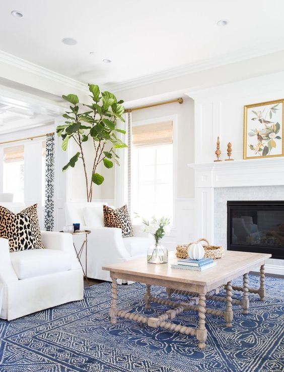 Another project by Studio McGee   coastal beach style living room with blue  and white patterned rug  fiddle leaf tree  leopard cushions  white chairs. 130 best carpet and rugs images on Pinterest   Carpet  Products
