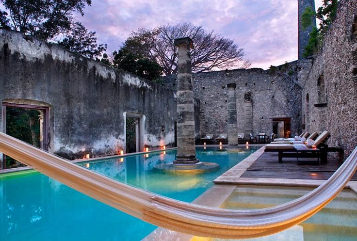 The pool at Hacienda Uayamon, a villa-style escape by Starwood Luxury Collection in Mexico's Yucatan Peninsula.