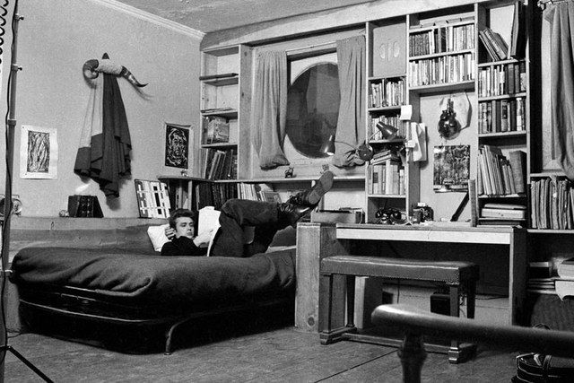 JAMES DEAN   Despite being just steps from a glamorous stretch of Central Park, James Dean's studio apartment on West 68th Street in New York City was decidedly collegiate. The actor lived in the rented space, off and on, from 1953 until his death in a car crash two years later. (The photograph here was published in Life magazine, six months before Dean was killed.)