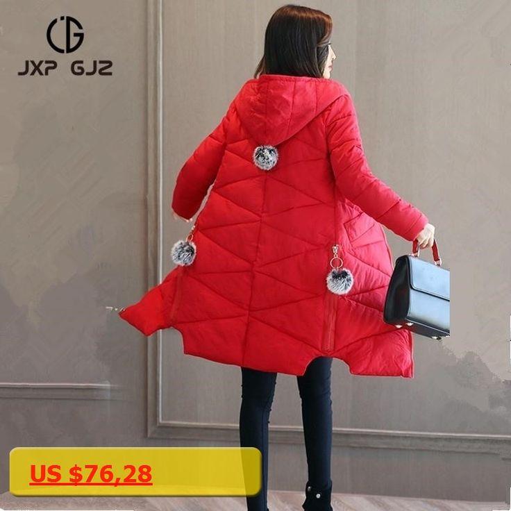 JXP GJZ Winter Women Jacket Coat Parka Black Gray Zipper Long Sleeve Slim Hooded Parkas Regular Plus Size Parkas Femme 3XL 2XL