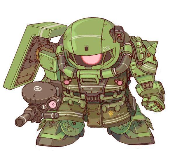 MS-06 Zaku 2 mecha from the Gundam series - SD super deformed