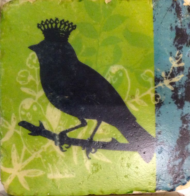 Crowned bird silhouette - green and blue tile style coaster.