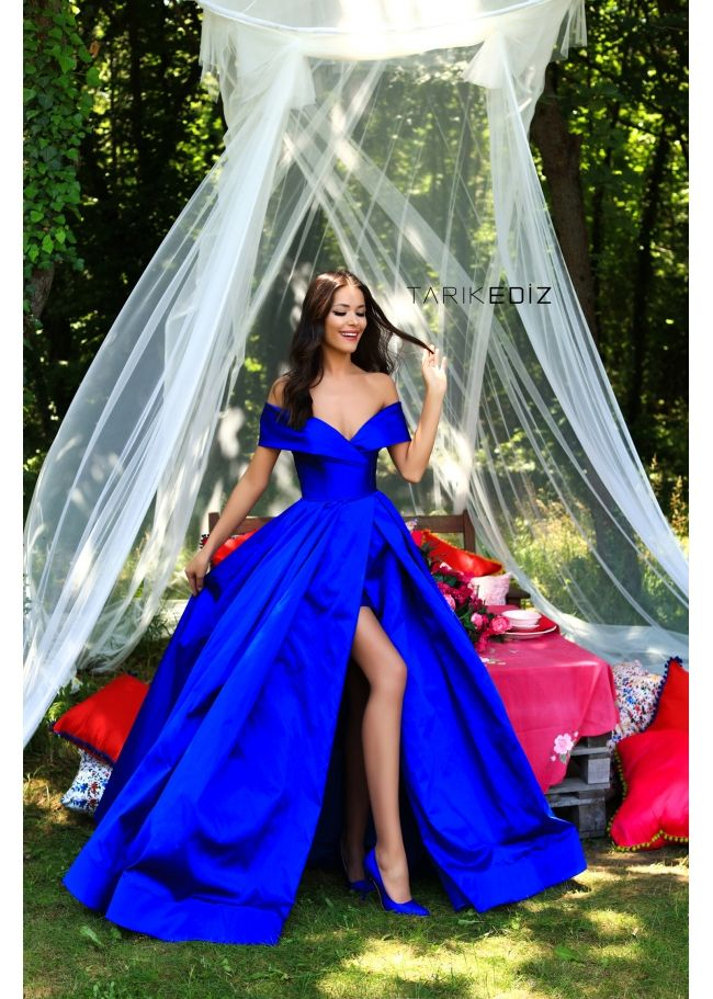 Tarik Ediz- Prom 2018 Collection Style  50280 Long Off-Shoulder Royal Blue  Prom Gown with Full Skirt. Also available in Ivory 52ee79c0c67e