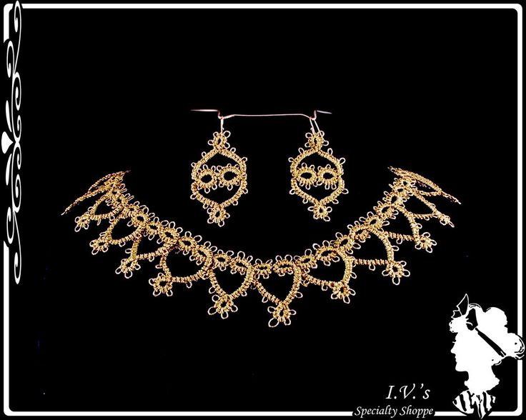 Gold Tatted Necklace and Earrings by IVsSpecialtyShoppe on Etsy