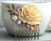Accessorio dei capelli di nozze. Pettine da sposa. Squallida anticato avorio oro rosa capelli pettine. Crema oro rosa, foglia, perla capelli pettine. Dono di damigella d'onore