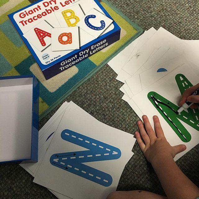 We are enjoying our Giant Dry Erase Letters!! @educationbyorientaltrading #teacherfriends
