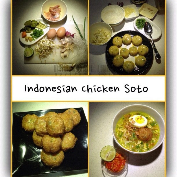 Soto ayam is Indonesian yellow chicken soup and usually served with rice. Vermicelli (rice noodles) is often added to Soto. Turmeric (Kunyit) is added as one of its ingredients to get yellow chicken broth. Besides chicken and vermicelli, it is also served with hard-boiled eggs, slices of fried potatoes, Chinese celery leaves, and fried shallots.