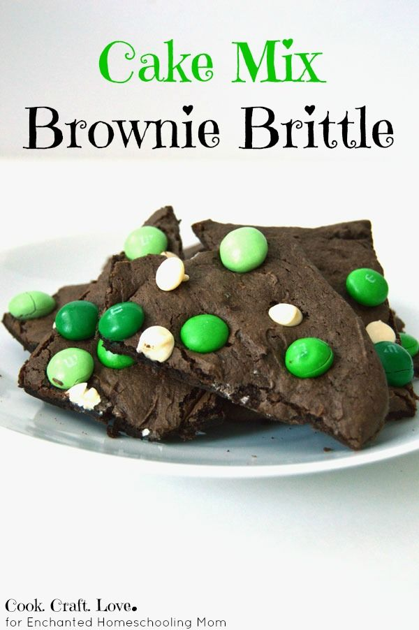 Cake Mix Brownies from cake mix with only 4 ingredients! A new combination using candy to make a tasty brownie brittle.