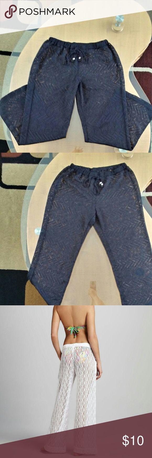 Catalina Crotchet Lace Beach Pants Black Crochet Lace Beach Pants ?. Wide leg…