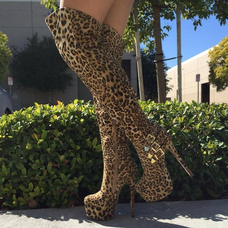 Sexy Side Zipper Leopard Over Knee High Boots