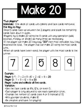 A mental math game for students- using a deck of cards. Uses all four operations, or can be modified if needed.