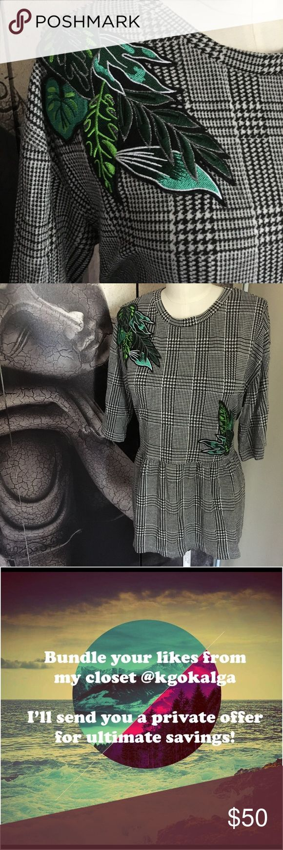 """Zara Trafaluc Plaid Tunic w/ Leaves Embroidery Contemporary black and white plaid tunic w/ green leaves embroidery.   Measurements are approximate.  Laying flat:  Armpit to armpit: 20"""" Length: 25"""" Zara Tops Tunics"""