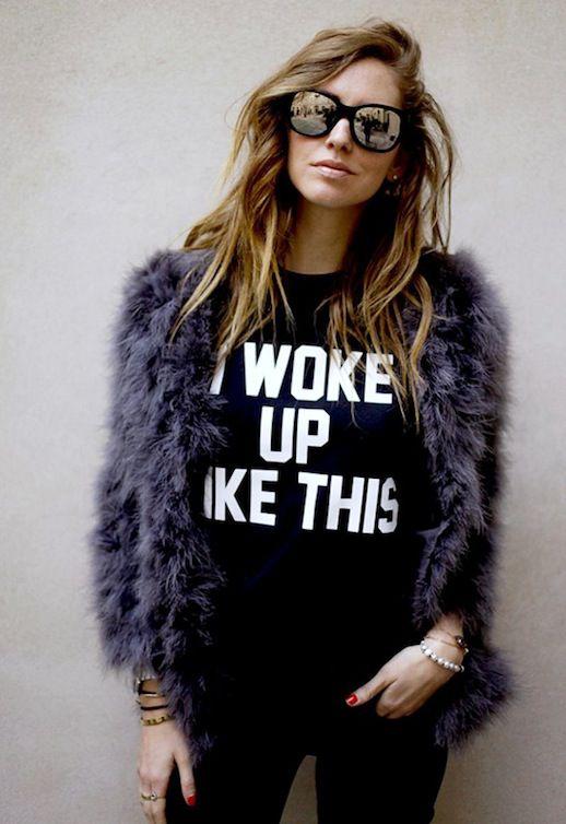 Le Fashion 5 Things Private Party I Woke Up Like This Beyonce Flawless Lyric Sweatshirt Chiara The Blonde Salad Mirrored Sunglasses Purple F...