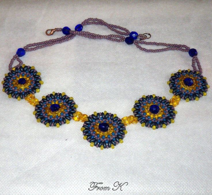 """Fairly popular circle design #necklace in Boho look. This necklace looks wonderful with a casual dress or with jeans. The combination of colors will match a lot of different clothes for different acosions. Czech seed beads and special """"twin"""" beads are used here. (""""twin"""" bead is the latest trend in beaded jewelry). (for details see this items in my albums https://www.facebook.com/BeadsFromK/photos)  Available on order and in other colors."""